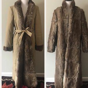 Vintage Reversible Rabbit Fur Trench